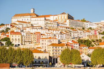 Cityscape view on the hill of the old town of Coimbra city in the central Portugal