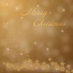 Christmas time. Christmas trees and stars. Text : Merry Christmas.