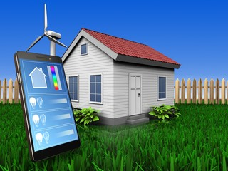 3d phone application over lawn and fence