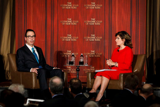 U.S. Treasury Secretary Steven Mnuchin speaks with Fox Business Network host Maria Bartiromo during a discussion before the Economic Club of New York, in New York City