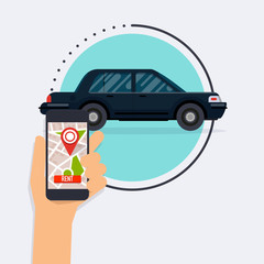 Hand holding mobile smart phone with app rent a car. Vector modern flat creative info graphics design on application.