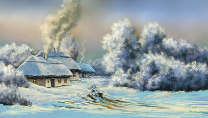 The art. Winter oil paintings landscape, digital art, fine art