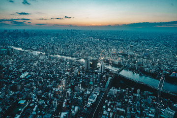 Tokyo city skyline as seen from above at sunset