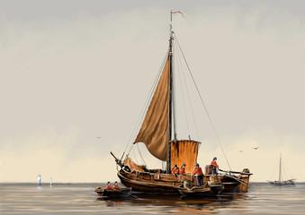 The art. Sea landscape paintings, digital oil art, fisherman, fine art