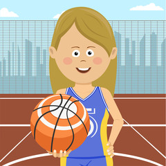 Teenager girl with ball standing on city basketball court