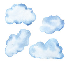 Set of pastel blue cartoon clouds isolated on white background. Hand drawn watercolor illustration.