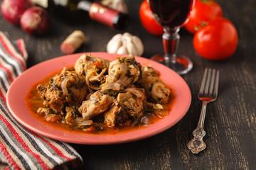 Chicken curry on dark background