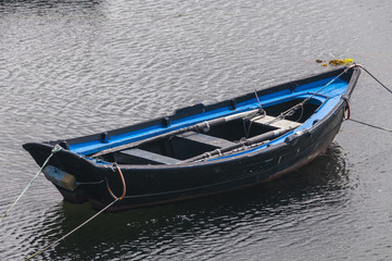 Fishing boat moored in the harbor