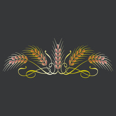 Golden ripe wheat sheaf ears on black background. Decorative element for label design, brand icon or logo template.