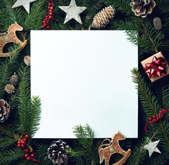 Frame of Christmas tree branches and decorations