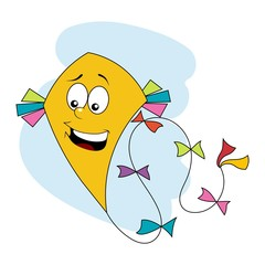 Yellow kite flying over blue sky