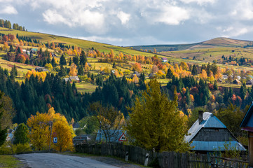 Carpathian mountain village in autumn. lovely countryside scenery