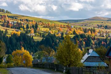 Carpathian mountain village in autumn. lovely countryside scenery