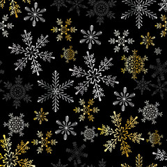 Snowflake winter design season december snow celebration ornament seamless pattern background vector illustration.