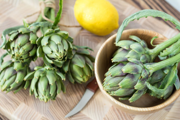 Artichoke bouquets on kitchen table