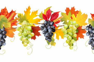 Seamless border with ripe grape, colored autumn leaves and wheat ears. Thanksgiving decoration. Vector illustration.  Fototapete