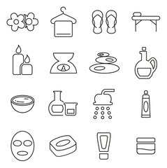 Spa or Wellness Icons Thin Line Vector Illustration Set