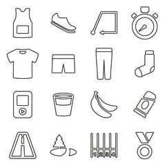 Running or Marathon Icons Thin Line Vector Illustration Set