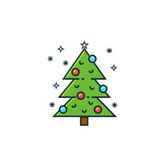 Christmas tree flat color line icon on isolated background. Xmas tree with baubles and ornaments. Vector illustration in modern colorful linear style.