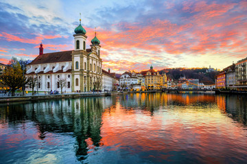 The Old Town of Lucerne, Switzerland, on sunset