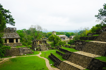 Mayan ruins in Palenque, Chiapas, Mexico. Palace and observatory.