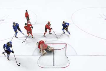High angle shot of an ice hockey game