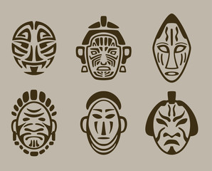 tribal mask set of Africa, Asia and America