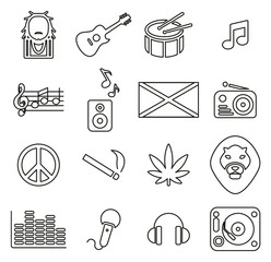 Reggae Music & Culture Icons Thin Line Vector Illustration Set
