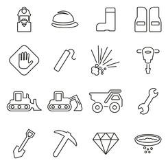 Quarry or Mine Icons Thin Line Vector Illustration Set