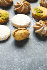 Assorted cookies: linzer cookies,shortbread, nuts cookie, orange almond cookie.