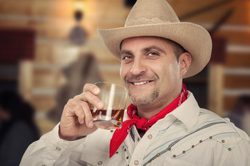 Cowboy is drinking neat whiskey