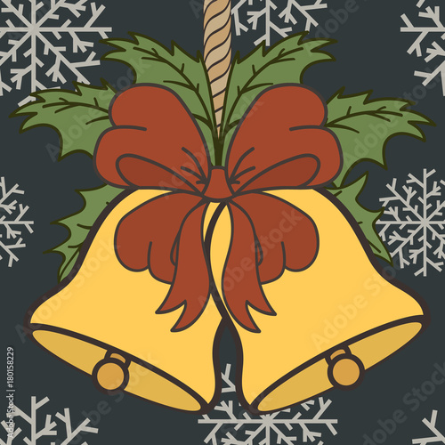 merry christmas and happy new year design in traditional style golden christmas bells with red