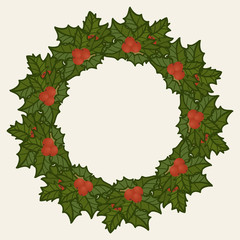Christmas wreath. Mistletoe wreath with red holly berries. Merry Christmas and Happy New Year design in traditional style. Christmas decoration. Christmas holly wreath