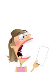 woman screaming at a bill