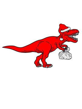 weihnachten sack geschenke winter weihnachtsmann mütze nikolaus santa claus brüllen t-rex tyrannosaurus saurier rex fleischfresser groß monster dinosaurier dino böse gefährlich fressen jagen