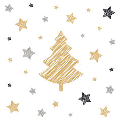 christmas tree stars scribble card drawing white background