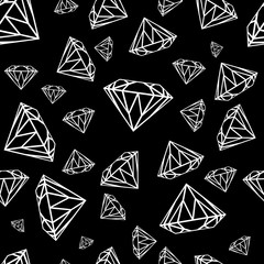 Diamonds seamless pattern. Vector pattern with diamonds. Seamless pattern can be used for wallpaper, pattern fills, web page background,surface textures and fabrics. Black and white design.
