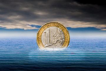 swimming euro coin