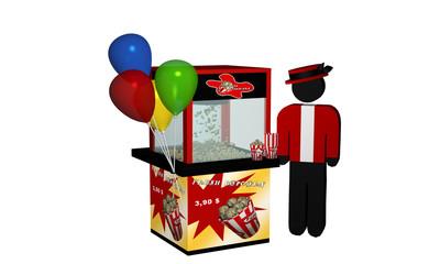 Popcornmaschine mit frischem Popcorn und Luftballons und Verkäufer