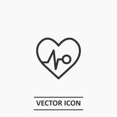 Outline heart impulse icon illustration vector symbol