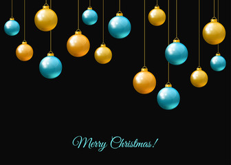 Fotomurales - Blue  and golden  hanging Christmas balls  on black  background.