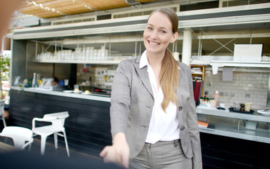 Businesspeople toasting in restaurant