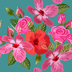 Seamless pattern with hibiscus and roses. Hand-drawn floral background for textile, cover, wallpaper, gift packaging, printing.Romantic design.