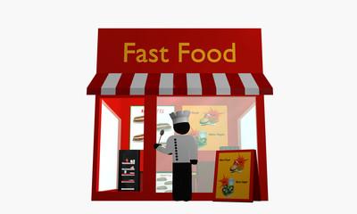 Fast Food Imbiss mit Koch der davor steht.