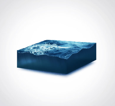 3d isolated illustration section storm sea with big waves on white background