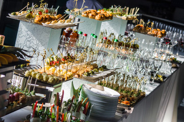 catering, buffet table with snacks and drinks