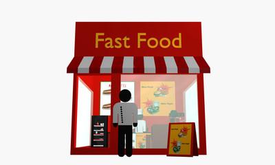 Fast Food Imbiss mit Figuren. Ansicht von vorne