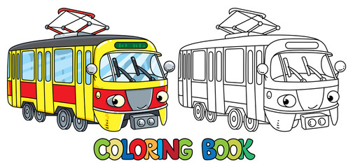 Funny small tram with eyes. Coloring book