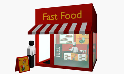 Fast Food Imbiss mit Figuren.