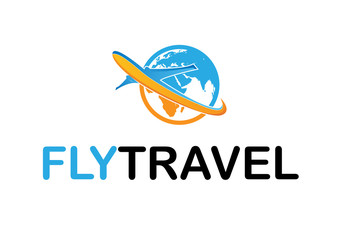 Travel World Logo Design Template Flat Style Vector Illustration